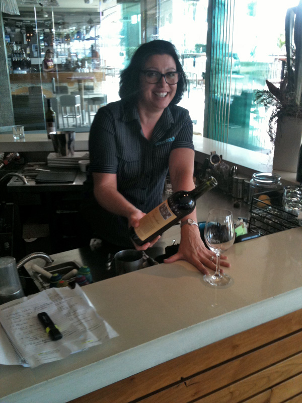 angela at watermark pouring
